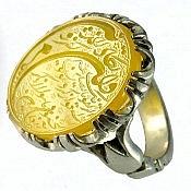 انگشتر نقره عقیق شرف الشمس حکاکی وان یکاد مردانه