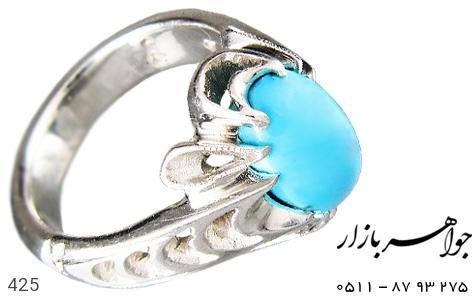 انگشتر فیروزه درشت و مرغوب مردانه دست ساز - 425