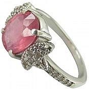 انگشتر نقره یاقوت خوش رنگ زنانه
