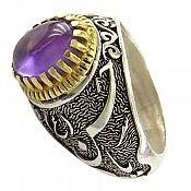 انگشتر نقره آمتیست فریم یا حسن ع و یا حسین ع مردانه