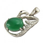 مدال نقره عقیق سبز