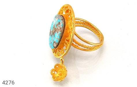 انگشتر نقره فیروزه نیشابوری درشت طرح زیرخاکی زنانه - 4276