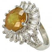 انگشتر نقره یاقوت زرد زنانه