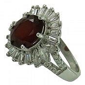 انگشتر نقره گارنت الماس تراش زنانه