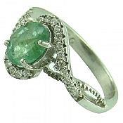 انگشتر نقره زمرد زامبیا الماس تراش زنانه