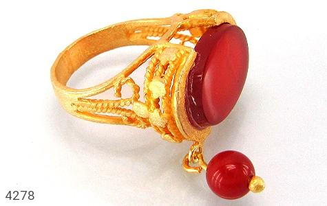 انگشتر نقره عقیق طرح زیرخاکی سلطنتی زنانه - 4278