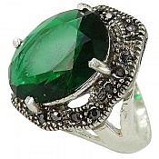 انگشتر نقره زمرد سنتاتیک زنانه