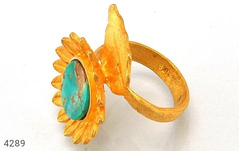 عکس انگشتر نقره فیروزه نیشابوری طرح زیرخاکی آفتابگردان زنانه