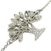 دستبند نقره میکرو طرح درخت جواهری زنانه