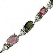 دستبند نقره تورمالین طرح غزل زنانه