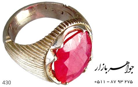 انگشتر نقره یاقوت سرخ درشت مردانه دست ساز - 430