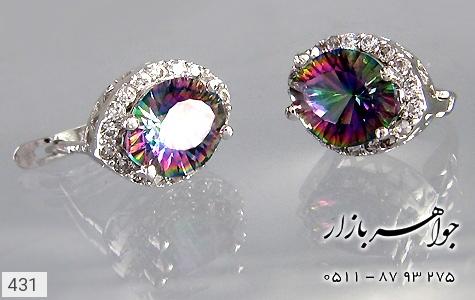 گوشواره نقره توپاز هفت رنگ درشت - 431