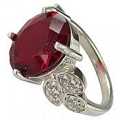 انگشتر نقره نگین یاقوت سرخ سنتاتیک زنانه