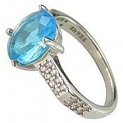انگشتر نقره نگین توپاز آبی سنتاتیک زنانه