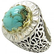 انگشتر نقره فیروزه نیشابوری خوش طبع سلطنتی طرح آینه کاری مردانه دست ساز