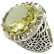 انگشتر نقره کوارتز لیمویی شاهانه درشت مردانه