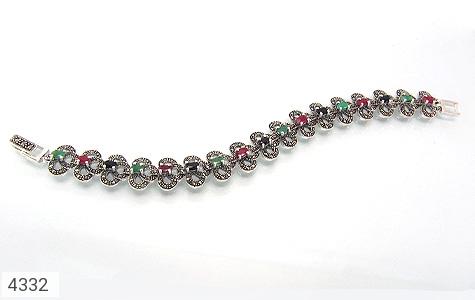 دستبند نقره یاقوت و زمرد سلطنتی زنانه - 4332