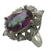 انگشتر نقره توپاز هفت رنگ زنانه