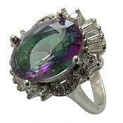 انگشتر نقره توپاز هفت رنگ شیک زنانه