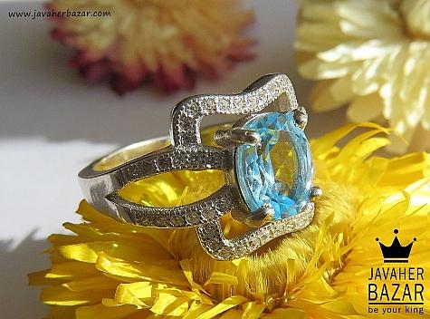 انگشتر نقره توپاز طرح حدیث زنانه - 43404