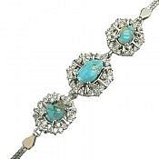 دستبند نقره فیروزه نیشابوری طرح اشرافی زنانه