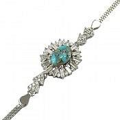 دستبند نقره فیروزه نیشابوری جواهری زنانه