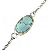 دستبند نقره فیروزه نیشابوری ظریف زنانه