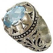 انگشتر نقره توپاز طرح سلطنتی مردانه دست ساز