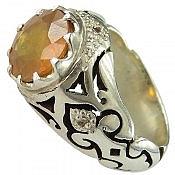 انگشتر نقره یاقوت زرد و برلیان اصل شاهانه مردانه