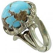انگشتر نقره فیروزه نیشابوری طرح سلطنتی مردانه دست ساز