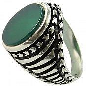 انگشتر نقره عقیق سبز مردانه