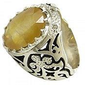 انگشتر نقره یاقوت آفریقایی و برلیان اصل شاهانه مردانه