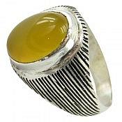 انگشتر نقره عقیق حرزدار زرد مردانه