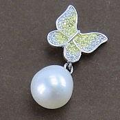 مدال نقره مروارید طرح پروانه