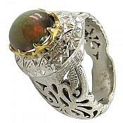 انگشتر نقره اپال آتشین مردانه دست ساز