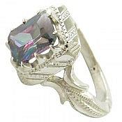 انگشتر نقره توپاز هفت رنگ طرح سلطنتی سنتاتیک مردانه دست ساز