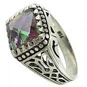 انگشتر نقره توپاز هفت رنگ سنتاتیک طرح شاهانه مردانه