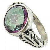 انگشتر نقره توپاز هفت رنگ سنتاتیک مردانه