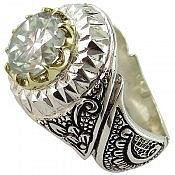 انگشتر نقره موزانایت شاهانه مردانه