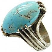 انگشتر نقره فیروزه نیشابوری چهارچنگ درشت مردانه