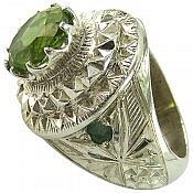انگشتر نقره زبرجد زمرد طرح سلطنتی مردانه دست ساز