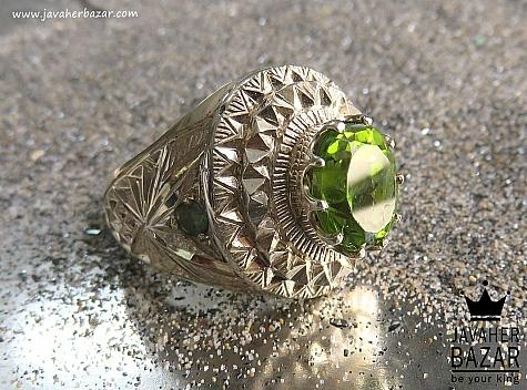 انگشتر نقره زبرجد زمرد طرح سلطنتی مردانه دست ساز - 44456