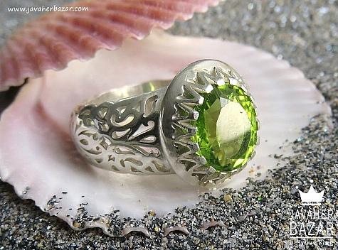 انگشتر نقره زبرجد شاهانه مردانه - 44457