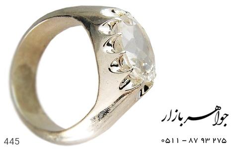 انگشتر نقره در نجف تراش دست ساز - 445