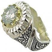انگشتر نقره موزانایت شاهانه مردانه دست ساز