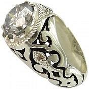 انگشتر نقره موزانایت و برلیان اصل شاهانه مردانه دست ساز