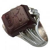 انگشتر نقره عقیق حکاکی یا حسین مردانه دست ساز