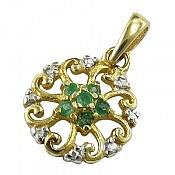 مدال نقره زمرد جواهری رنگ ثابت