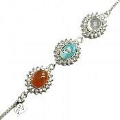 دستبند نقره عقیق و فیروزه و در نجف فاخر زنانه