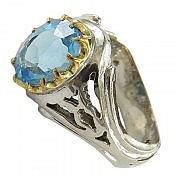 انگشتر نقره توپاز سوئیس شاهانه مردانه